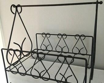Scrolled iron basket, iron newspaper holder, iron magazine rack