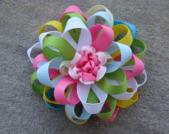 Flower Loopy Hair Bow multi colors hair bow medium hair bow round hair bow rose hair bow flower bow