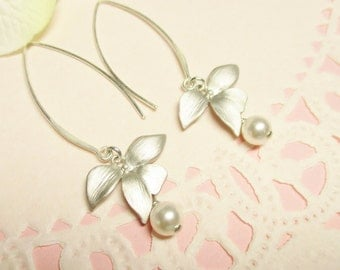 Silver Orchid Flower Earrings with Pearls, Long Dangle Earrings, Bridesmaid Earrings, Bridal Earrings, Wedding Earrings
