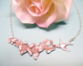 Orchid and Swallow Necklace, Bridesmaid Gift, Silver Wedding Jewelry