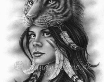 Tiger Girl Spiritual Woman Feather Native Art Print Fantasy Zindy Nielsen