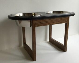 12 inch high elevated dog feeder - raised dog feeder - modern minimal dog feeder - feeding stand - black/walnut