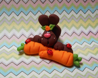 Polymer Clay Sprawled Out Bunny with his Two Large Carrots/Ladybugs - FIGURINE