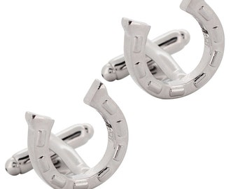 Horseshoe Cufflinks Silver Cuff-links 1200380
