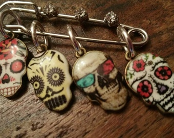 Kawaii Sugar Skulls Snag Free Knitting Stitch Markers 2 inch Diamante Stitch Holder Day of the Dead Set of 6 birthday Gift under 20 for her