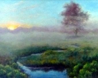 "MISTY SUNRISE 12""x16""  oil painting by Alexandra Kopp"