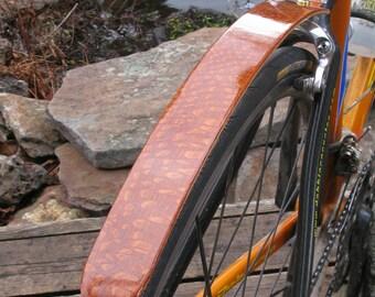 Woody's Chop Chort Rear Leopard wood bike fender.  Bicycle fender