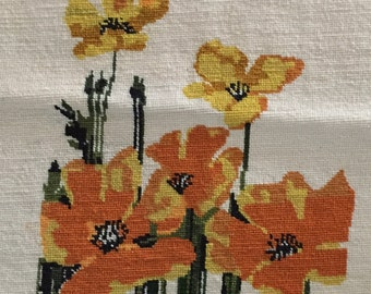 """60's Vintage Floral Needlepoint Piece, 14 1/2"""" x 16"""", Beautiful Stitching"""