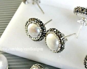 Pearl earrings, sterling silver earrings, stud earrings, pearl studs earring,Pave diamond Freshwater pearl earrings pearl jewelry-