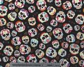 Skulls Sugar Day Of The Dead on Black Print - Hi-Fashion Fabrics - By the Yard - Cotton Fabric - PLEASE READ description concerning yardage