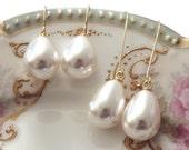 Pearl earrings Pearl teardrop earrings Pearl earrings dangle Pearl drop earrings Pearl earrings wedding Pearl earring bridesmaid Gold pearl