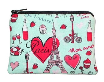 Paris Theme Eiffel Tower Coin Change Purse Small Zipper Pouch