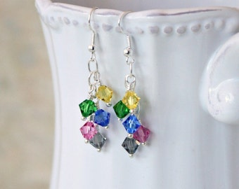 Swarovski crystal earrings inspired by the 5 members of Pentatonix, Pentacon Event Fundraiser