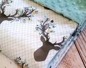 Baby Blanket - Minky Baby Blanket - Deer Baby Blanket - Boys Antler Blanket - Blue Minky Blanket - Baby Shower Gift - Woodland Blanket