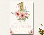 Girls First Birthday Invitation Pink and Gold Floral Birthday Watercolor Invitation Natural