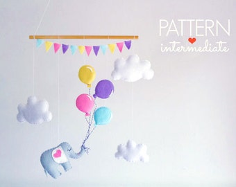 Baby Mobile Pattern, Elephant Sewing Pattern, DIY Baby Mobile, Pastel Nursery Decor, Balloon Mobile, DIY Crib Mobile