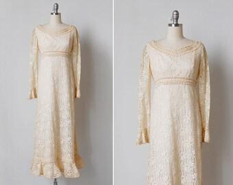 vintage 1970s dress / 70s lace dress / 1970s wedding dress / Babylon dress
