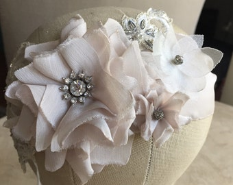 Blush bridal headband, headpiece, headsash, rhinestones