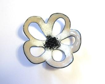 Big white flower enamel pendant Enameled copper jewelry making component Large black beige necklace focal
