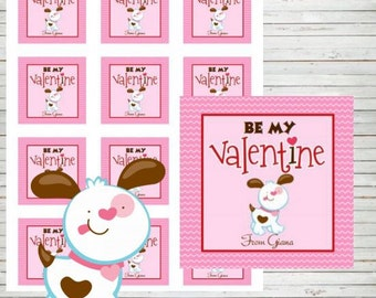 "Valentine Tags Instant Download Editable 2"" Square Tags Printable Dog Tags Labels Stickers DIY Tags Dog Happy Valentine's Day Stickers VA5"