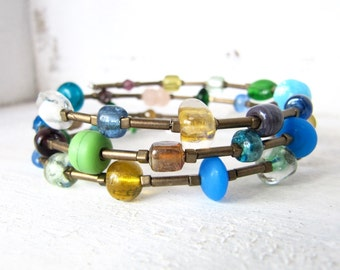 Yellow, Green, Blue, Purple, Pink, and Brown Antique Gold Memory Wire Bracelet Yellow Green Blue and Brown Antique Gold Beaded Wrap Bracelet