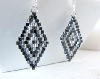 Gun Metal and Silver Diamond Earrings, Silver Gray and Gunmetal Beaded Earrings, Bead Woven Earrings