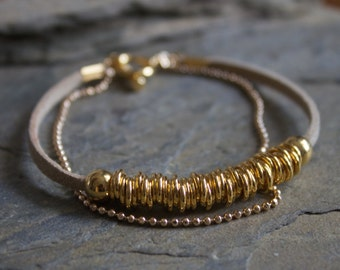 Gold bracelet, gold leather bracelet, simple gold bracelet, dainty gold bracelet, gold beaded bracelet, layering gold bracelet