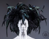 Huge feather headdress / Black Mardi Gras headdress / Rooster feather headpiece / Dark fashion headdress / Burning man headpiece / Burlesque