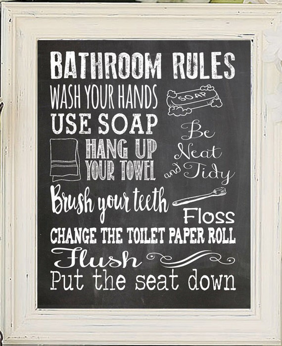 Bathroom rules decor kids bathroom rules fun by jandsgraphics for Bathroom decor rules