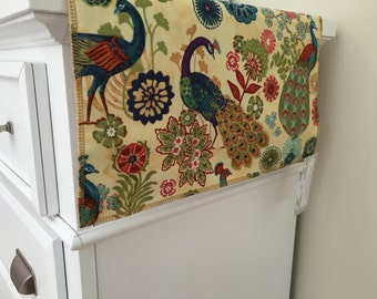 Peacock Table Runner | Dining Room Bird | Cream Floral Summer | Bird Table Runner | Shaby Chic | Rustic