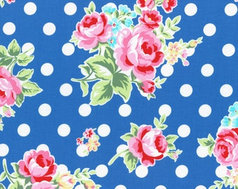 """End of bolt 17"""" Lecien Flower Sugar fall 2015 by Lecien of Japan - pink floral and white dots on royal blue"""