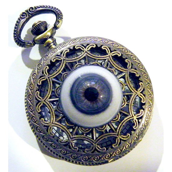 Steampunk Pocket Watch Glass Blue Eye Eyeball Gothic Necklace or Chain Fob Brass Spider Web Filigree