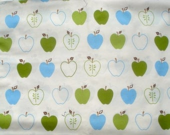 SALE : Metro Market apples green blue Robert Kaufman fabric FQ or more WASHED
