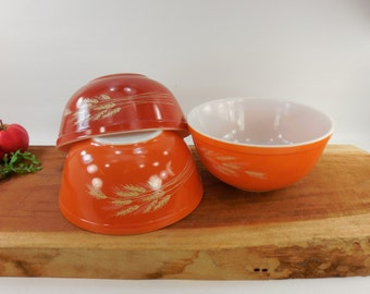 3 Lot Set Pyrex Mixing Bowls - Autumn Harvest Wheat - 2-1/2 Qt Quart 403 Orange