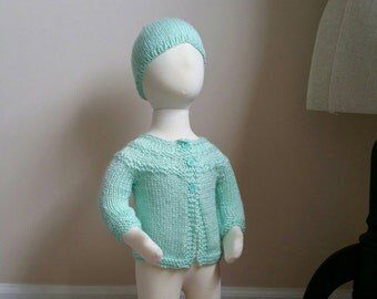 Mint Green Baby Sweater and Hat Set - 0-6 Months