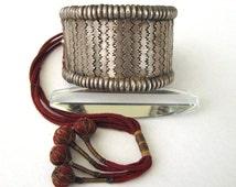 Antqiue Rajasthan Silver Bazuband, Bracelet, Armlet,  High Grade Silver, Flexible, Original Red Tassles, 99.2 Grams (3.50oz), Ethnic Tribal