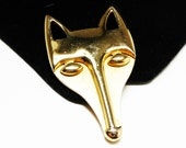 Goldtone Fox Brooch - Vintage Wild Animals - Retro Large Dog Face Pin - Canines