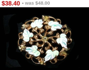 Art Nouveau Brooch - Round Pin with Enamel Leaves - Vintage Antique Jewelry
