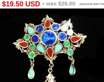 Vintage Multi Colored Brooch - Dangling Tear Drop Art Glass Faux Gemstones - Designer Signed ART - 1960's 1970's Retro Mod Miracle Style Pin