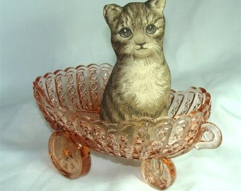 Vintage Daisy and BUTTON Glass FLOWER CART Bowl
