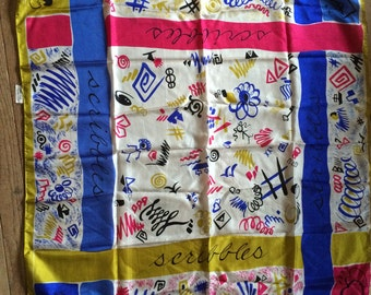 Vintage Silk Scarf Pure Silk  A Top Hit Fashion Baar & Beards Inc. Scribbles Scarf Hashtags, Squiggles, Stick Figures and More BOLD Colors