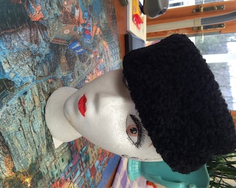 Lamb Fur Hat Black Russian Style Hat Kossack Style Hat with Earflaps Made In Sweden Ethnic Funky Hat En Vogue Cavanagh NY Curly Fur Hat