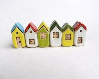 Ceramic Miniature Houses Set of 6, miniature clay tiny house fairy house, pottery house,miniatures, housewarming, small building