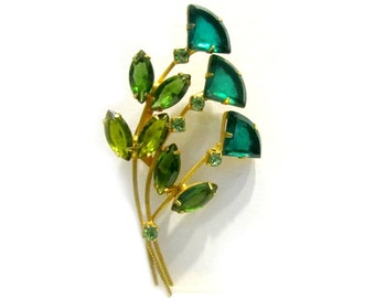 Vintage Green Rhinestone Brooch Long Flower Gold Pin Pie Cut Triangle Rhinestone Flowers Brooch