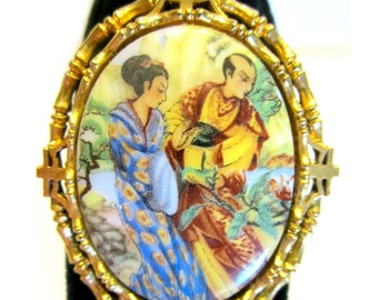 Vintage Cameo Brooch Designer Signed ART Brooch Asian Man Woman Cameo Gold Pin Gift for Mom Gift for Her