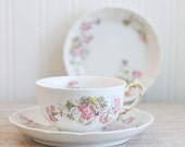 Antique Limoges China Tea Set, Wildflower Tea Cup and  Saucer Set,  WM Guerin, French Limoges, Fina Bone China, Trio Set, Tea Party, Flowers