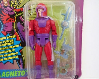 Xmen Magneto Action Figure On Card 90s Marvel Comics MOC International By Tyco X Men