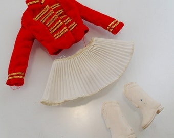 Drum Majorette Outfit Set Red White Cheer Leader Band Jacket Skirt Boots Vintage Mod Barbie Doll Mattel Clothes Accessories