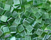 """100 1/2"""" Tumbled Green Stained Glass Mosaic Tiles"""