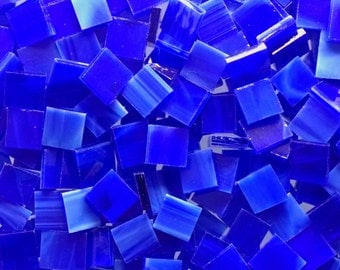 Royal Blue and White Stained Glass Mosaic Tiles